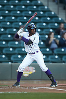 Micker Adolfo (27) of the Winston-Salem Dash at bat against the Salem Red Sox at BB&T Ballpark on April 20, 2018 in Winston-Salem, North Carolina.  The Red Sox defeated the Dash 10-3.  (Brian Westerholt/Four Seam Images)