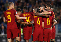 Calcio, Serie A: Roma vs Crotone. Roma, stadio Olimpico, 25 ottobre 2017.<br /> Roma's Diego Perotti, second from right, n.8, celebrates with his teammates after scoring the winning goal on a penalty kick during the Italian Serie A football match between Roma and Crotone at Rome's Olympic stadium, 25 October 2017. Roma won 1-0.<br /> UPDATE IMAGES PRESS/Riccardo De Luca