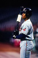 Wil Cordero of the Cleveland Indians during a game against the Anaheim Angels at Angel Stadium circa 1999 in Anaheim, California. (Larry Goren/Four Seam Images)