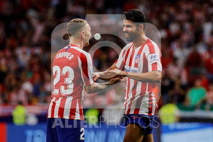 Kieran Trippier (L) and Diego Costa (R) of Atletico de Madrid celebrate the victory during La Liga match between Atletico de Madrid and SD Eibar at Wanda Metropolitano Stadium in Madrid, Spain.September 01, 2019. (ALTERPHOTOS/A. Perez Meca)