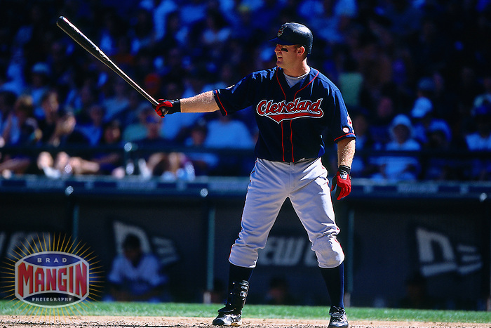 SEATTLE, WA - Jim Thome of the Cleveland Indians bats during a game against the Seattle Mariners at Safeco Field in Seattle, Washington in 2001. Photo by Brad Mangin