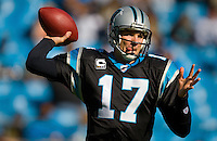 Carolina Panthers quarterback Jake Delhomme (17) throws the ball against the Detroit Lions during an NFL football game at Bank of America Stadium in Charlotte, NC.
