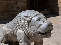 Steinlöwe in der Festung Ark in Buchara, Usbekistan, Asien, UNESCO-Weltkulturerbe<br /> stone lion in the fortress, Historic City of Bukhara, Uzbekistan, Asia, UNESCO Heritage Site