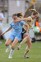 Kiersten Dallstream (2) of Sky Blue FC and Rachel Buehler (4) of FC Gold Pride battle for a ball. FC Gold Pride defeated Sky Blue FC 1-0 during a Women's Professional Soccer (WPS) match at Yurcak Field in Piscataway, NJ, on May 1, 2010.