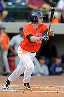 Greenville Astros left fielder Marc Wik #48 swings at a pitch during a game against the Kingsport Mets at Pioneer Park on August 4, 2013 in Greenville, Tennessee. The Astros won the game 17-1. (Tony Farlow/Four Seam Images)