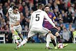 Real Madrid CF's Sergio Reguilon, Raphael Varane  and FC Barcelona's Leo Messi during La Liga match. March 02,2019. (ALTERPHOTOS/Alconada)