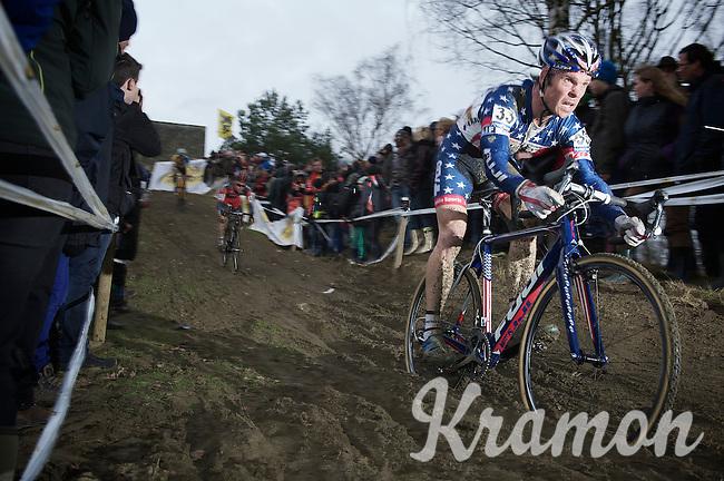Jonathan Page (USA) on the muddy downhill<br /> <br /> GP Sven Nys 2014