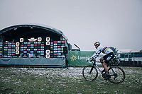 CX World Champion Wout Van Aert (BEL/Cibel-Cebon) off to the podium after finishing 2nd<br /> <br /> Superprestige Zonhoven (BEL) 2018