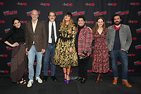 """NEW YORK CITY - OCTOBER 10: Writer Sarah Naftalis, Sam Johnson, Paul Simms, Natasia Demetriou, Harvey Guillén, Yana Gorskaya and Matt Berry attends a 2021 New York Comic Con event for FX's """"What We Do In The Shadows"""" at the Javits Center on October 10, 2021 in New York City.  (Photo by Ben Hider/FX//PictureGroup)"""