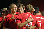 Wales' Joe Ledley and Steve Morison congratulate Andy King on his goal during the International Friendly between Wales and Luxembourg at Parc y Scarlets in LLanelli..