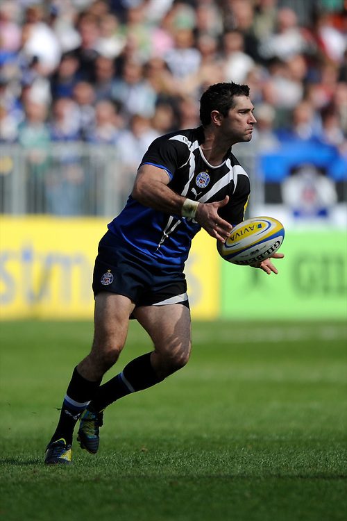 Stephen Donald of Bath Rugby passes during the Aviva Premiership match between Bath Rugby and Leicester Tigers at The Recreation Ground on Saturday 20th April 2013 (Photo by Rob Munro)