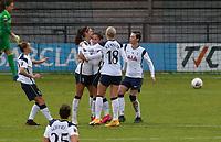 Tottenham Hotspur players celebrating their first goal during Tottenham Hotspur Women vs Aston Villa Women, Barclays FA Women's Super League Football at the Hive Stadium on 13th December 2020