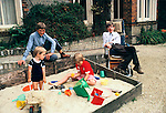 Professor Stephen Hawking 1981 at home Cambridge UK 1980s with young family.