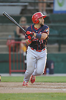 Peoria Chiefs Jose Godoy (27) swings during the Midwest League game against the Burlington Bees at Community Field on June 9, 2016 in Burlington, Iowa.  Peoria won 6-4.  (Dennis Hubbard/Four Seam Images)