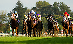 October 07 2018 : Current with Jose Ortiz up defeats Salvator Mundi and Brian Hernanadez  and Henley's Joy with Tyler Gaffalione to win the Dixiana Bourbon States at Keeneland Racecourse on October 07, 2018 in Lexington, Kentucky. Evers/ESW/CSM