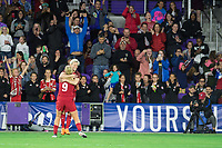 Orlando, FL - Wednesday March 07, 2018: Megan Rapinoe celebrates her goal during the She Believes Final Cup Match featuring USA Women's National Team vs. Englands Women's National Team