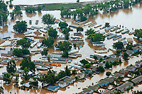 Flooding along South Platte River in Weld County, Colorado.  Trailer Park in Greeley.