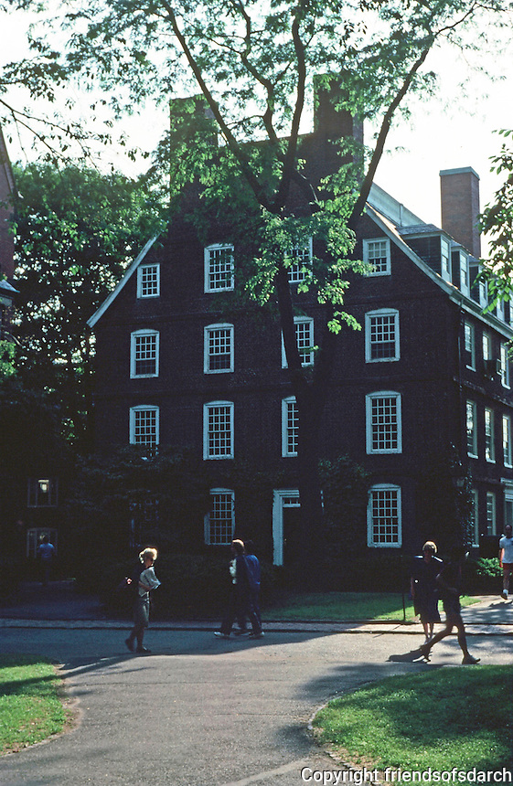 Cambridge:  Harvard Yard--looking west to east end of Massachusetts Hall, 1718.  Photo '88.