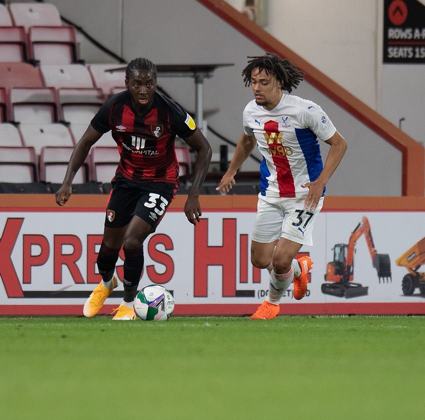 Bournemouths' Jordan Zemura (left) under pressure from Crystal Palace's Tyrick Mitchell (right)<br /> <br /> Photographer David Horton/CameraSport<br /> <br /> Carabao Cup Second Round Southern Section - Bournemouth v Crystal Palace - Tuesday 15th September 2020 - Vitality Stadium - Bournemouth<br />  <br /> World Copyright © 2020 CameraSport. All rights reserved. 43 Linden Ave. Countesthorpe. Leicester. England. LE8 5PG - Tel: +44 (0) 116 277 4147 - admin@camerasport.com - www.camerasport.com