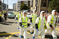 Pictured: Saturday 17 September 2016<br /> Re: Roald Dahl's City of the Unexpected has transformed Cardiff City Centre into a landmark celebration of Wales' foremost storyteller, Roald Dahl, in the year which celebrates his centenary.<br /> Emergency response at the start of the events in Cardiff.