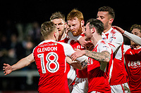 Cian Bolger of Fleetwood Town (third left) celebrates scoring his side's first goal during the FA Cup 2nd round replay match between Hereford and Fleetwood Town at Edgar Street, Hereford, UK on 14 December 2017. Photo by Mark Hawkins / PRiME Media Images.