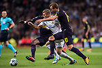 Toni Kroos of Real Madrid (C) fights for the ball with Harry Kane of Tottenham Hotspur FC (R) and Moussa Sissoko of Tottenham Hotspur FC (back) during the UEFA Champions League 2017-18 match between Real Madrid and Tottenham Hotspur FC at Estadio Santiago Bernabeu on 17 October 2017 in Madrid, Spain. Photo by Diego Gonzalez / Power Sport Images