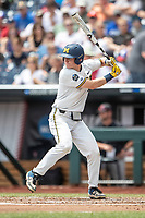 Michigan Wolverines first baseman Jimmy Kerr (15) at bat during Game 11 of the NCAA College World Series against the Texas Tech Red Raiders on June 21, 2019 at TD Ameritrade Park in Omaha, Nebraska. Michigan defeated Texas Tech 15-3 and is headed to the CWS Finals. (Andrew Woolley/Four Seam Images)