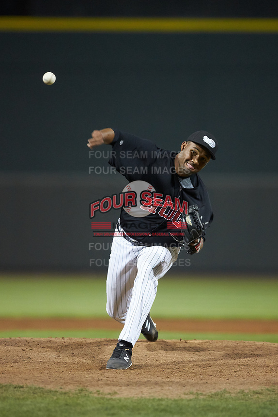 Winston-Salem Dash relief pitcher Jose Nin (32) in action against the Wilmington Blue Rocks at BB&T Ballpark on April 17, 2019 in Winston-Salem, North Carolina. The Blue Rocks defeated the Dash 2-1. (Brian Westerholt/Four Seam Images)