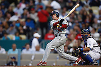 David Eckstein of the St. Louis Cardinals during a game from the 2007 season at Dodger Stadium in Los Angeles, California. (Larry Goren/Four Seam Images)
