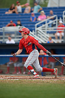 Williamsport Crosscutters third baseman Cole Stobbe (7) follows through on a swing during the first game of a doubleheader against the Batavia Muckdogs on August 20, 2017 at Dwyer Stadium in Batavia, New York.  Batavia defeated Williamsport 6-5.  (Mike Janes/Four Seam Images)