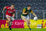 Kevin Flahive, Cork, in action against Tony Brosnan, Kerry during the Munster GAA Football Senior Championship Semi-Final match between Cork and Kerry at Páirc Uí Chaoimh in Cork.