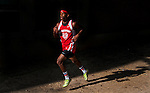 Lenier Tucker leads the way during his 16:54 circuit of the the three-mile course for a win in the quad cross country meet at North East High School in North East, Maryland on September 11, 2012 featuring boys and girls from North East, Elkton, Aberdeen and Edgewood High School's.