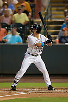 Delmarva Shorebirds Johnny Rizer (17) during a South Atlantic League game against the Greensboro Grasshoppers on August 21, 2019 at Arthur W. Perdue Stadium in Salisbury, Maryland.  Delmarva defeated Greensboro 1-0.  (Mike Janes/Four Seam Images)
