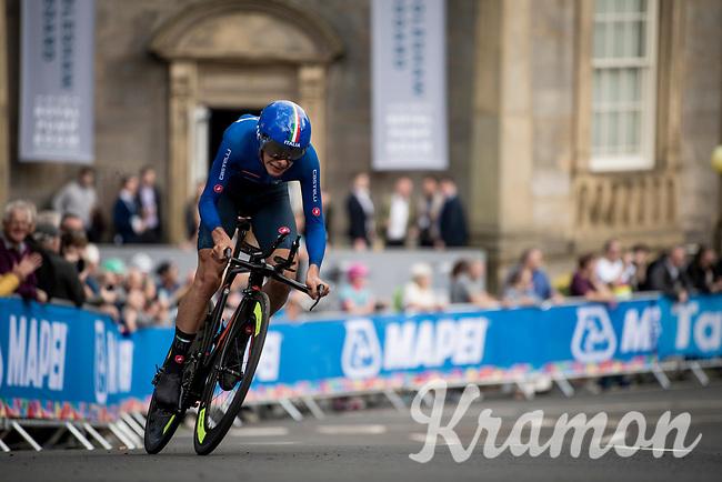 eventual race winner and thus 2019 Men Junior Individual Time Trial World Champion Antonio Tiberi (ITA)<br /> <br /> Men Junior Individual Time Trial <br /> 2019 Road World Championships Yorkshire (GBR)<br /> <br /> ©kramon