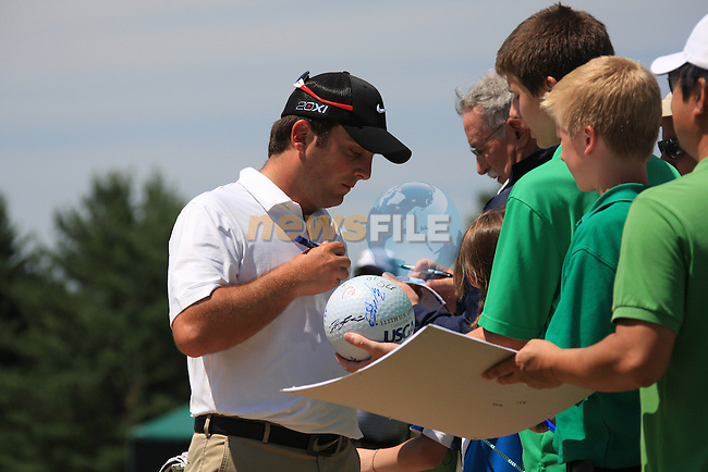 Francesco Molinari (ITA) signing autographs as he leaves the practice ground.on practice day of the USGA at Congressional, Bethesda, Washington, 15/6/11.Picture Fran Caffrey/www.golffile.ie