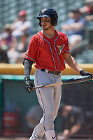 Javy Guerra (5) of the El Paso Chihuahuas bats against the Salt Lake Bees at Smith's Ballpark on July 8, 2018 in Salt Lake City, Utah. El Paso defeated Salt Lake 15-6. (Stephen Smith/Four Seam Images)