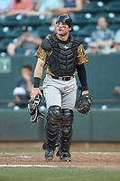 Down East Wood Ducks catcher Matt Whatley (20) on defense against the Winston-Salem Dash at BB&T Ballpark on May 12, 2018 in Winston-Salem, North Carolina. The Wood Ducks defeated the Dash 7-5. (Brian Westerholt/Four Seam Images)