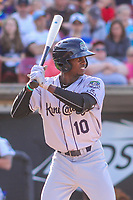 Kane County Cougars outfielder Anfernee Grier (10) at bat during game one of a Midwest League doubleheader against the Wisconsin Timber Rattlers on June 23, 2017 at Fox Cities Stadium in Appleton, Wisconsin.  Kane County defeated Wisconsin 4-3. (Brad Krause/Four Seam Images)