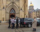 Mar. 3, 2015; President Emeritus Rev. Theodore M. Hesburgh's casket arrives at the Basilica of the Sacred Heart for the visitation and wake. (Photo by Barbara Johnston/University of Notre Dame)