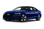 Stock pictures of low aggressive front three quarter view of 2021 Audi A5-Coupe S-Line 2 Door Coupe Low Aggressive
