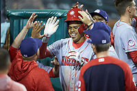 Gilbert Lara (6) of the Hagerstown Suns is congratulated by teammates after hitting a 2-run home run against the Greensboro Grasshoppers at First National Bank Field on April 6, 2019 in Greensboro, North Carolina. The Suns defeated the Grasshoppers 6-5. (Brian Westerholt/Four Seam Images)