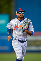 St. Lucie Mets center fielder Desmond Lindsay (2) during a Florida State League game against the Florida Fire Frogs on April 12, 2019 at First Data Field in St. Lucie, Florida.  Florida defeated St. Lucie 10-7.  (Mike Janes/Four Seam Images)