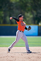 Baltimore Orioles Jeff Kemp (55) throws to first base during a minor league Spring Training game against the Boston Red Sox on March 16, 2017 at the Buck O'Neil Baseball Complex in Sarasota, Florida.  (Mike Janes/Four Seam Images)