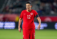 CARSON, CA - FEBRUARY 07: Christine Sinclair #12 of Canada looks to the ball during a game between Canada and Costa Rica at Dignity Health Sports Park on February 07, 2020 in Carson, California.