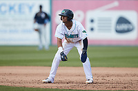 Yordys Valdes (7) of the Lynchburg Hillcats takes his lead off of first base against the Myrtle Beach Pelicans at Bank of the James Stadium on May 23, 2021 in Lynchburg, Virginia. (Brian Westerholt/Four Seam Images)