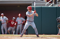 Patrick Bailey (5) of the North Carolina State Wolfpack at bat against the Northeastern Huskies at Doak Field at Dail Park on June 2, 2018 in Raleigh, North Carolina. The Wolfpack defeated the Huskies 9-2. (Brian Westerholt/Four Seam Images)