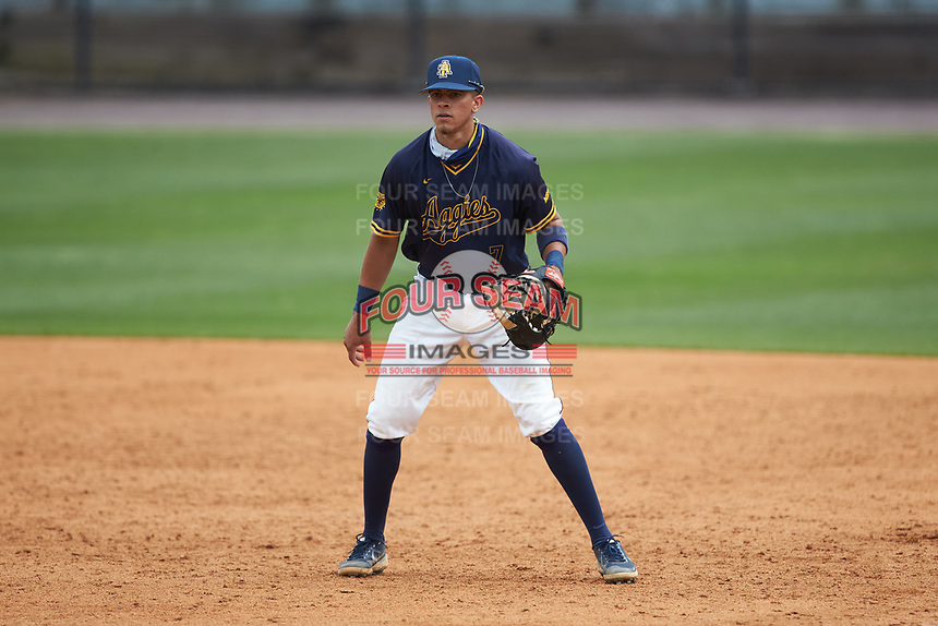 North Carolina A&T Aggies first baseman Justin Williams (7) on defense against the North Carolina Central Eagles at Durham Athletic Park on April 10, 2021 in Durham, North Carolina. (Brian Westerholt/Four Seam Images)