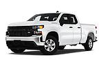 Stock pictures of low aggressive front three quarter view of 2020 Chevrolet Silverado-1500 WT 4 Door Pick-up Low Aggressive