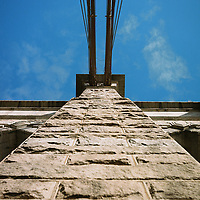Cables connect to the middle tower of the Brooklyn Bridge in New York on Monday, April 30, 2018. (Photo by James Brosher)
