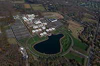 aerial photograph of Bristol-Myers Squibb Lawrenceville Campus near Princeton University, Mercer County, New Jersey.  The campus features 1.67 million square feet of building space on a 280 acre site.  It is an early discovery site with research and development laboratories and offices.